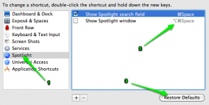 spotlight keyboard shortcuts